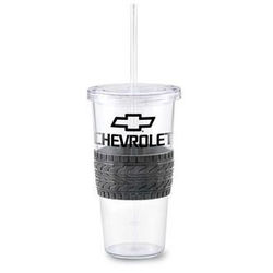 "24 oz Reusable ""Carry Out"" Cup - Single-Wall Acrylic Tumbler with Tire Tread Silicone Grip"
