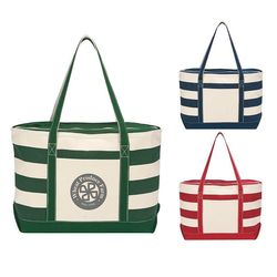 "14"" x 23"" 18 oz Cotton Canvas Nautical Tote, ZIPPERED Top and 27"" Handles"