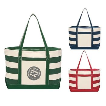 """14"""" x 23"""" 18 oz Cotton Canvas Nautical Tote, ZIPPERED Top and 27"""" Handles"""