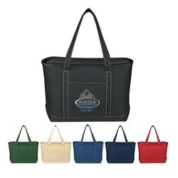 "14"" x 24"" Heavy Cotton Canvas Yacht Tote with Zippered Top and 30"" Handles"