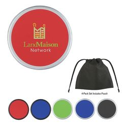 Two-Tone Plastic Coaster - Gift Set of Four