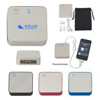 Universal Power Bank - 7800 mAh - Plastic and Aluminum, Charges Tablets & Phones, Lights up your Logo, Displays % Charge Left