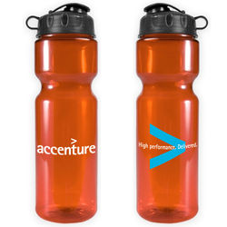 28 oz. Transparent Bottle with Flip Lid  (BPA-Free)