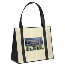 "15"" x 18"" Non-Woven Zippered Boat Shoulder Tote with Black Trim and Full-Color Printing"