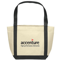 "12"" x 18"" Non-Woven Boat Tote with Color Trim"