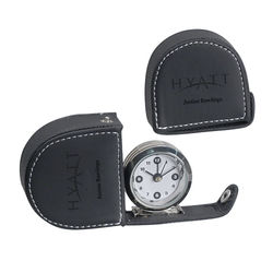 Travel Clock with Faux-Leather Case