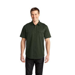 Men's Stain-Resistant Roll Sleeve Twill Shirt (Short Sleeve)