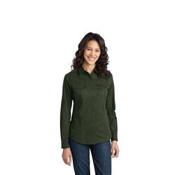 Ladies' Stain-Resistant Roll Sleeve Twill Shirt