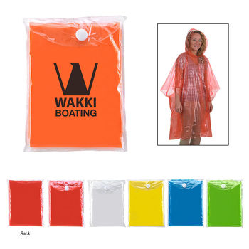 Single-Use Solid Rain Poncho with Printed Pouch