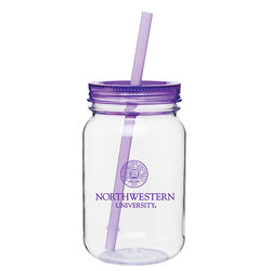 25 oz PLASTIC Mason Jar with Acrylic Lid and Straw