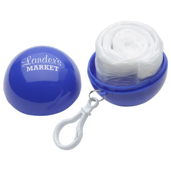 Single-Use Clear Rain Poncho Inside a Printed Ball Case with Clip