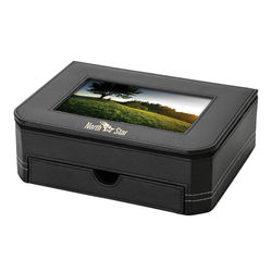 "Leatherette Desk Box with 6"" x 4"" Photo Frame Lid"