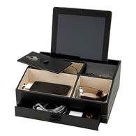 Leatherette Desk Box Holds Your Tablet, Jewelry, Desktop Items, and More