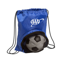 "14"" x 17.5"" Nylon Drawstring Cinch Backpack with Mesh Ball Compartment"