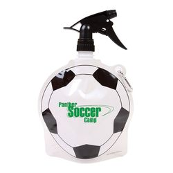 Soccer Theme Flat, Foldable Water Bag with Sprayer Top