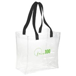 "12"" x 12"" Clear Shoulder Tote Bag with Color Accent Handles - NFL Security Approved"