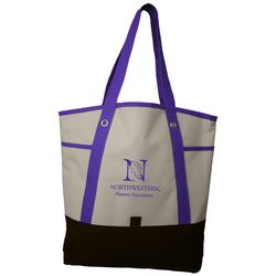 "17"" x 16"" Polyester Shopping Tote with Contrasting Straps"
