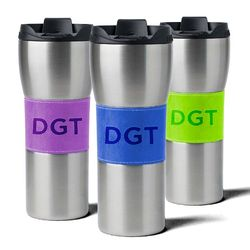 16 oz. Stainless Steel Travel Mug with Rich Italian Synthetic Leather Sleeve (in 30 colors!)