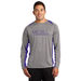 Men's Heather Colorblock 100% Polyester Moisture-Wicking Long Sleeve T-Shirt