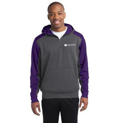 Unisex Colorblock 1/4 Zip Tech Fleece Hooded Sweatshirt