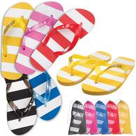 Striped Adult Flip Flops in Mesh Bag