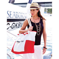 "15"" x 17"" Roomy and Stylish Cotton Canvas Nautical Rope Handle Shoulder Bag is Great for the Beach & Travel"