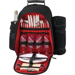 Picnic Backpack for Four Features Blanket, Plates, Cutting Board, and More