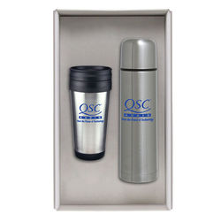 Stainless Steel Tumbler Gift Set with Thermal Bottle, Tumbler and Carrying Case