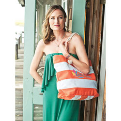 "15"" x 22"" Stylish Rope Handle Cotton/Poly Shoulder Bag Looks Great by the Pool or Beachside"