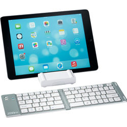 Mini Bluetooth Keyboard for Tablets Doubles as a Stand (Aluminum and ABS Plastic)