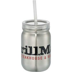 24 oz Stainless Steel Mason Jar with Straw