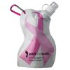 Flat, Flexible Water Bottle Shaped Like Breast Cancer Awareness Ribbon