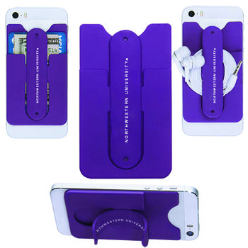 3-In-1 Silicone Phone Wallet and Phone Stand Attaches to Your Smart Phone or Case
