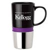 16 oz. Ceramic Mug with Chrome Base and Color Band