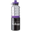 25 oz. Industrial-Design Aluminum Bottle with Push-Pull Lid Color Silicone Band and Matching Cap (BPA-Free)