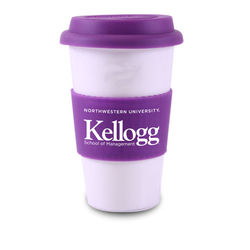 """14 oz Reusable """"To Go"""" Cup - Single-Wall Porcelain Ceramic Mug with Silicone Grip and Lid"""