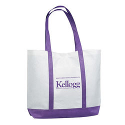 "18"" x 14"" Non-Woven Shoulder Tote with Colored Trim and 24"" Handles"