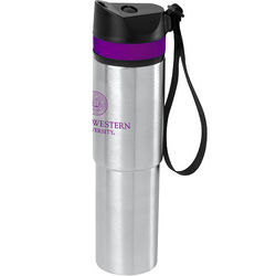 20 oz Hot/Cold Vacuum Insulated Bottle with Colored Silicone Band