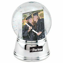 Snow Globe 'Insert Your Own Photo or Message' with Chrome Color Base