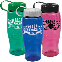 27 oz. Transparent BPA-Free Sports Bottle with Tethered Lid