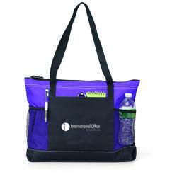 "14"" x 20"" Polyester Zippered Color Blocked Shoulder Tote Bag"