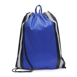 "16"" x 20"" Non-Woven Drawstring Cinch Backpack with Reflective Stripes"