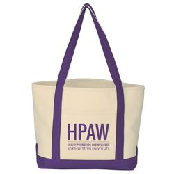 "13"" x 20"" Heavy Cotton Boat Tote in 6 Colors with Open Top and 15"" Handle Drop Height"
