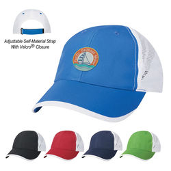 6-Panel Moisture-Wicking Polyester Cap with Mesh Back and Velcro®  Closure