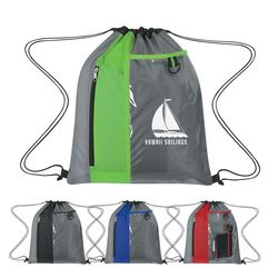 """14"""" x 17"""" Polyester Drawstring Cinch Backpack with Clear Pocket"""