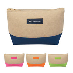 Jute and Canvas Cosmetics Bag