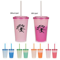 16 Oz. Economy Double-Wall Polypropylene Color-Changing Tumbler with Press-On Lid and Straw