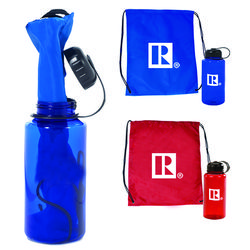 "Bestseller Gift Set - 14.75"" x 18.75"" Brightly Colored Drawstring Cinch Backpack Inserted in a 32oz. Water Bottle"