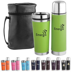 Leatherette Tumbler with Vacuum Bottle Set