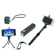 Vacation Tech Kit Includes Mini-Tripod, Selfie Stick, Power Bank and Bluetooth Speaker